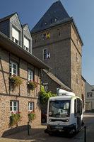 Schelmen tower with autonomous bus, Monheim am Rhein, North Rhine-Westphalia, Germany, Europe