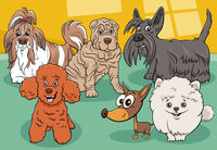 cartoon purebred dogs and puppies comic characters group