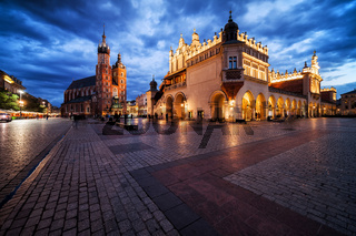 Old Town Main Square in Krakow at Twilight