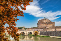 Rome Vatican, city skyline at Tiber River and Castel Sant'Angelo with autumn foliage season