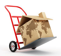 House shaped cardboard box with world map texture on hand truck. 3D illustration