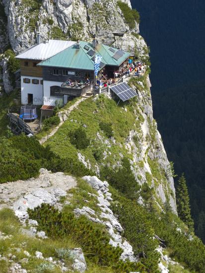 restaurant house in alps mountains, bavaria