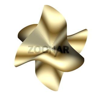 Complicated-geometrical-surface-glittering-in-golden-and-grey-tones-isolated-on-white