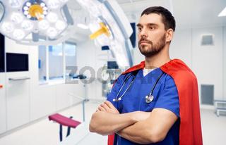 doctor or male nurse in superhero cape at hospital