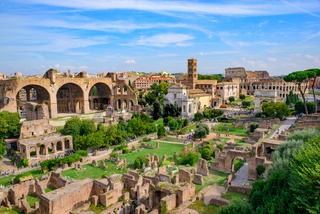 Colosseum and Roman Forum, a forum surrounded by ruins in Rome, Italy