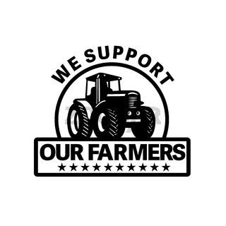 Farm Tractor Plowing Field with Words We Support Our Farmers Set Inside Circle  Done in Retro Style