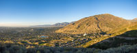 Panoramic view of Draper, Utah against the mountains and beautiful sky at the background