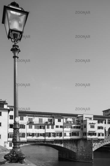 Vintage street light near Old Bridge in Florence