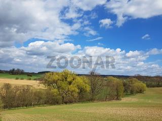 Landschaft beim Ökodorf Brodowin im Land Brandenburg im Frühling