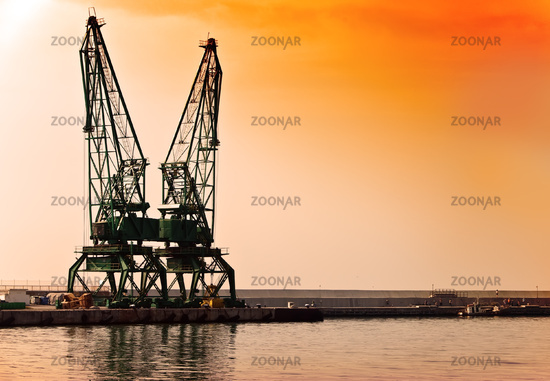 Sunset building crane