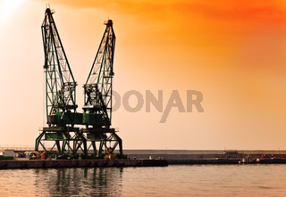 Sunset building crane