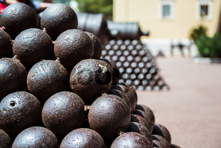 Cannonballs close-up. Photo taken in Princes Palace of Monaco