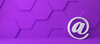 Fine 3d concept with a white at icon on purple hexagon