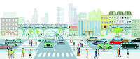 Big city with pedestrians on the crosswalk and public transport illustration