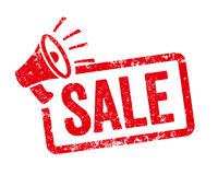 Red stamp with megaphone  - Sale
