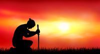 Japanese warrior samurai with a sword at sunset 1