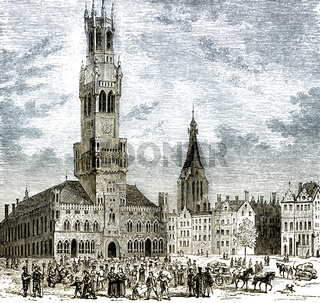 Historical cityscape of Bruges, 16th century