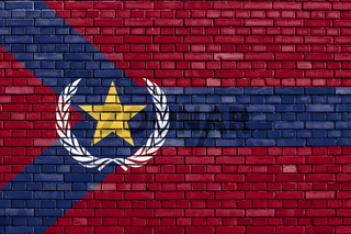 flag of West Lafayette, Indiana painted on brick wall