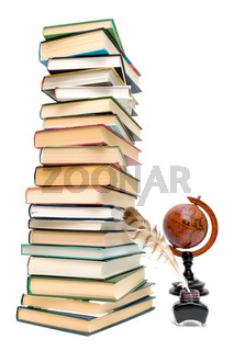 school supplies - books, ink and a globe on a white background