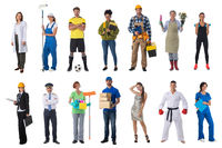 Collage of various occupations people