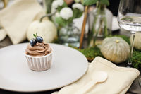 Chocolate cupcake near natural decorations