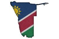 Karte und Fahne von Namibia auf Filz - Map and flag of Namibia on felt