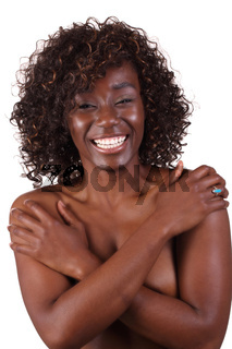 Pretty Smiling black woman bare top covered