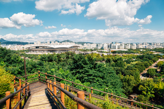 World Cup Stadium and Seoul city panorama view from Sky park in Korea