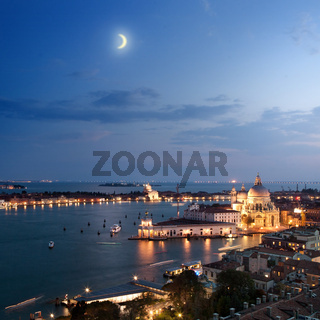 Aerial view of Venice city at evening