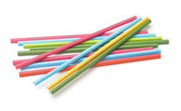 Group of paper colorful drinking straws