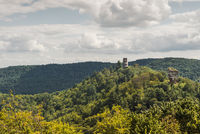 Palatinate Forest with the ruins of Anebos and Scharfenberg, Rhineland-Palatinate, Germany
