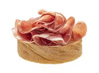 Bruschetta with bacon isolated on white background