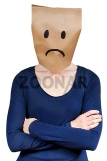 a person with a paper bag head symbolizing sadness