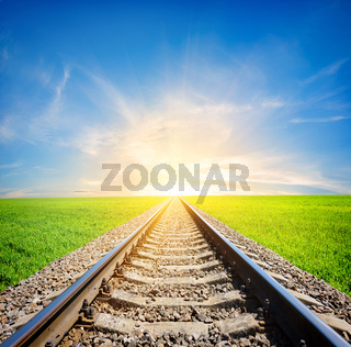 Railway in field