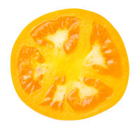 Yellow Tomato Slice Isolated On White Background