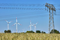Power lines and wind turbines seen in Germany