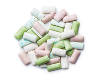 Different mint chewing gum pads.