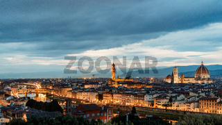 FLORENCE, TUSCANY/ITALY - OCTOBER 18 : Distant view of Florence Cathedral at dusk in Florence on October 18, 2019
