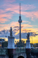 The famous TV Tower of Berlin at sunrise