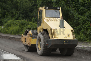 road roller in construction and road work