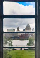 St Paul's Cathedral seen from a Tate Modern window on a rainy day