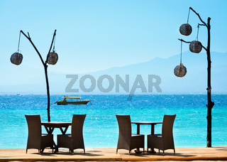 Romantic cafe on the beach