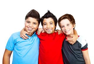 Happy boys teenagers,  best friends fun