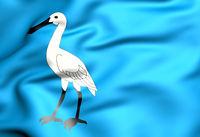 3D Flag of Wormerland (North Holland), Netherlands. 3D Illustration.