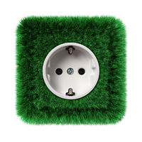 green socket overgrown with grass