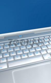 Tastatur Detail - Laptop Silber Blau