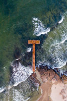 Drone View of Wooden Pier in Sandvig on Bornholm Island