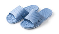 Blue Rubber Slippers on a white background
