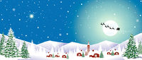 Village winter night snowflakes Christmas