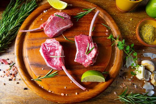 Raw Fresh Lamb Chops Wooden Cutting Board